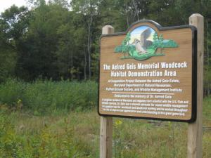 Sign at Aelred Geis Memorial Woodcock Habitat Demonstration Area
